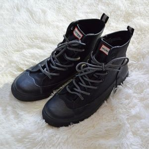 Womens HUNTER Black High Rain Sneakers Shoe sz 10